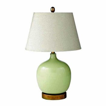 Green Oval Glass Lamp SHIPS FREE