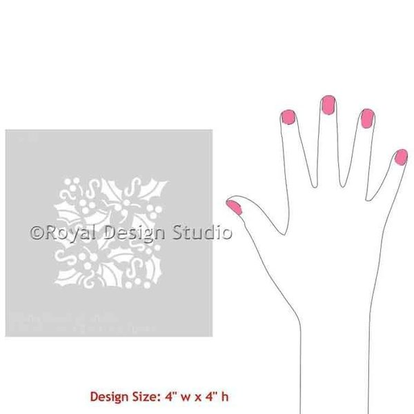 Royal Design Studio Holly Berry Christmas Stencil