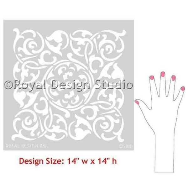 Royal Design Studio Verona Tile Wall & Furniture Stencil, Medium