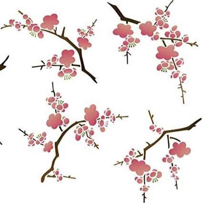 Cherry Blossom Flower Stencil: Cherry Blossoms