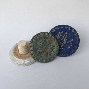 Cardinal Lake Pottery Wine Stoppers, Cool Colors