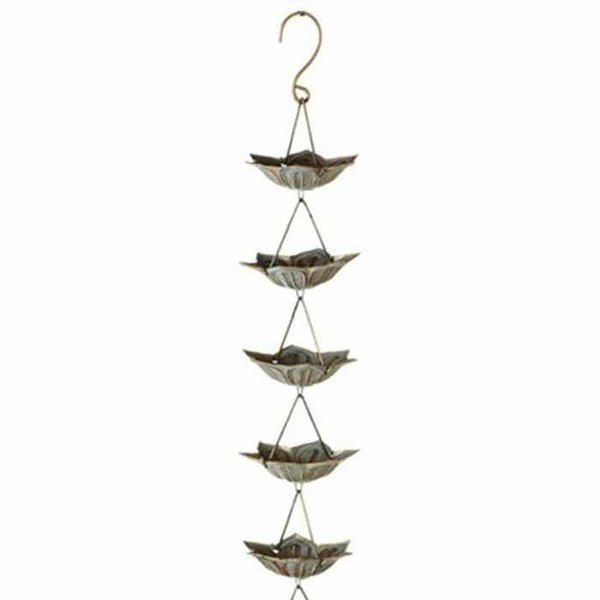Gold Patina Flower Rain Chain w/ Bell