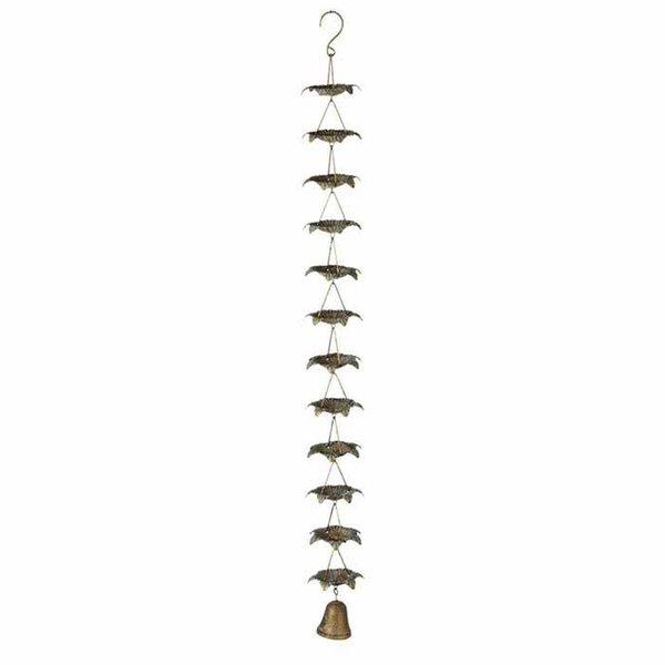 Gold Patina Petal Rain Chain w/ Bell