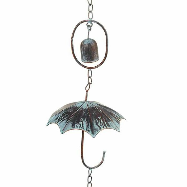 Patina Umbrella w/ Bells Rain Chain