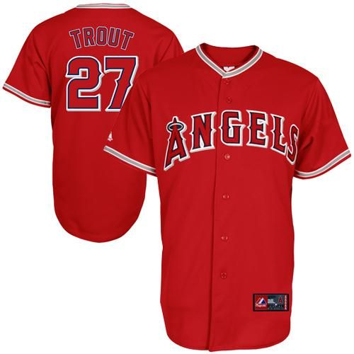 best service daf00 df559 Mike Trout Los Angeles Angels Youth Replica Road Jersey