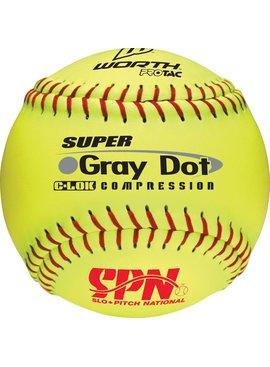 WORTH Yellow Gray Dot SPN Softball Ball