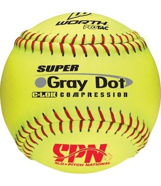 WORTH Yellow Gray Dot SPN Softball Ball (UN)