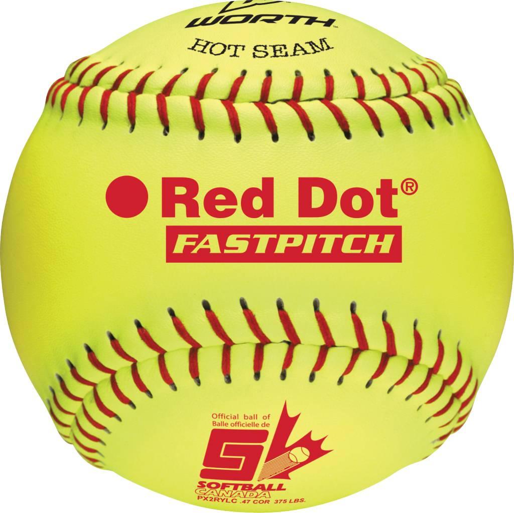 """WORTH Balle de Softball RED DOT 12"""" (UN)"""