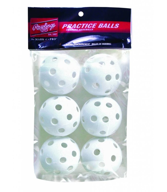 "RAWLINGS PLASTIC BASEBALL 9"" PACK OF 6"