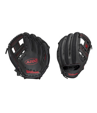 "WILSON A200 10"" Baseball Glove Black/Red"