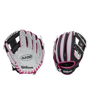 "WILSON A200 10"" Baseball Glove White/Pink/Black"