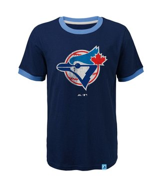 MAJESTIC Toronto Blue Jays Baseball Stripes Kids Ringer tee