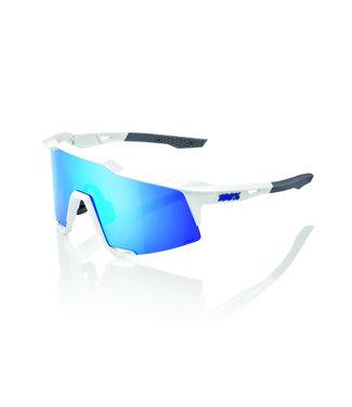 100% SpeedCraft Matte White - Hiper Blue Multilayer Mirror Lens