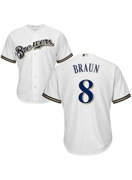 MAJESTIC Ryan Braun Mens Replica Jersey White Medium