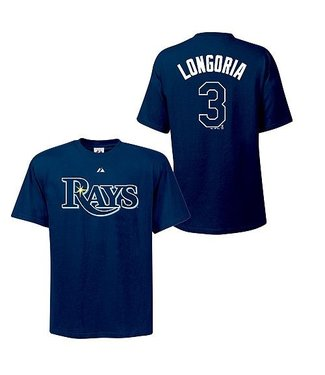 MAJESTIC EVAN LONGORIA RAYS YOUTH T-SHIRT LARGE