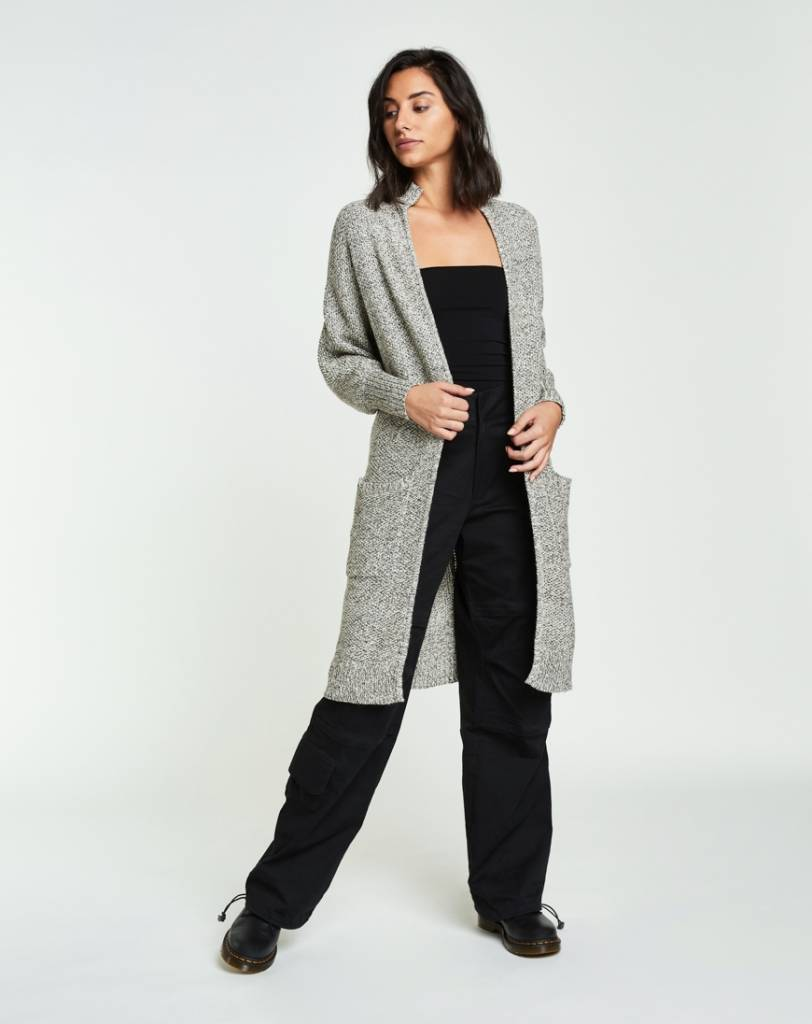 Backdrop Fashion Moss Stitch Open Long Cardigan