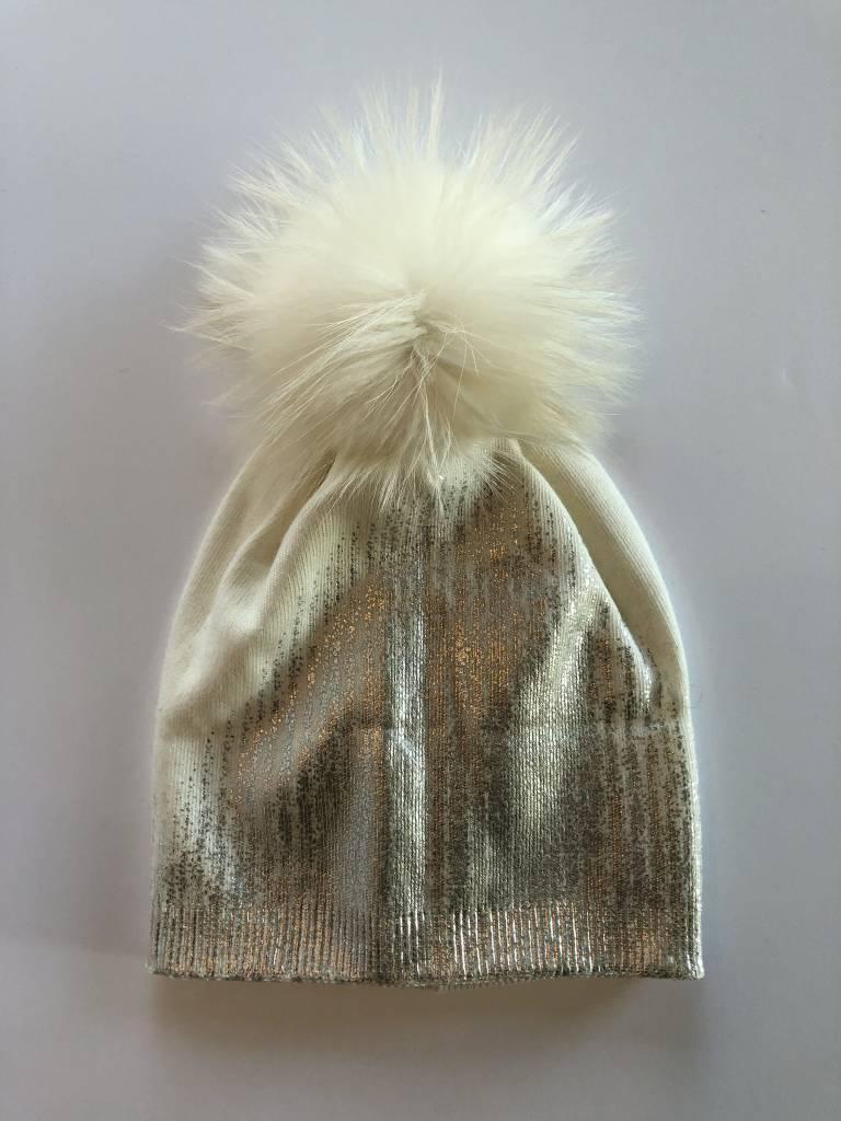 Rose & Pom Sparkle Hat w/Fur Pom