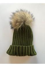 Rose & Pom Shelley Ribbed Hat w/Fur Pom