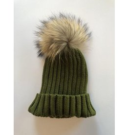 Rose & Pom Shelley Ribbed Hat w/Fur Pom