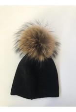 Rose & Pom Tessa Wool Hat w/Fur Pom