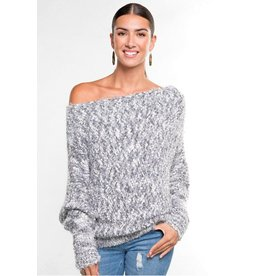Fuzzy Popcorn Off Shoulder Sweater