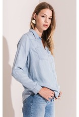 Rag Poets Jalama Chambray Button-Up Top