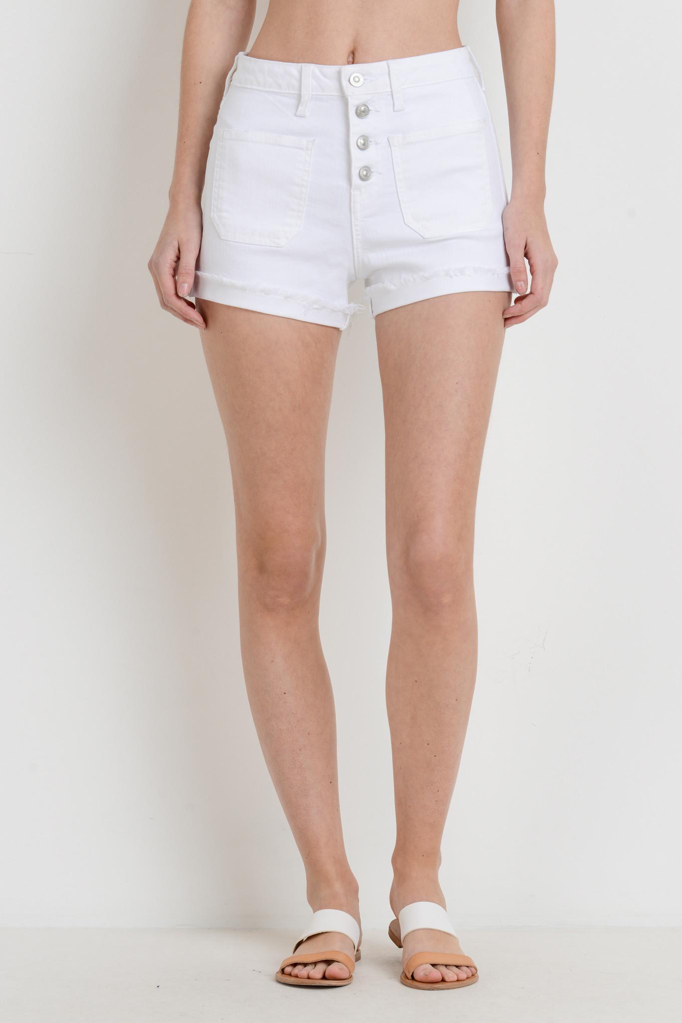 Just Black Denim Button Up Patch Pocket Shorts