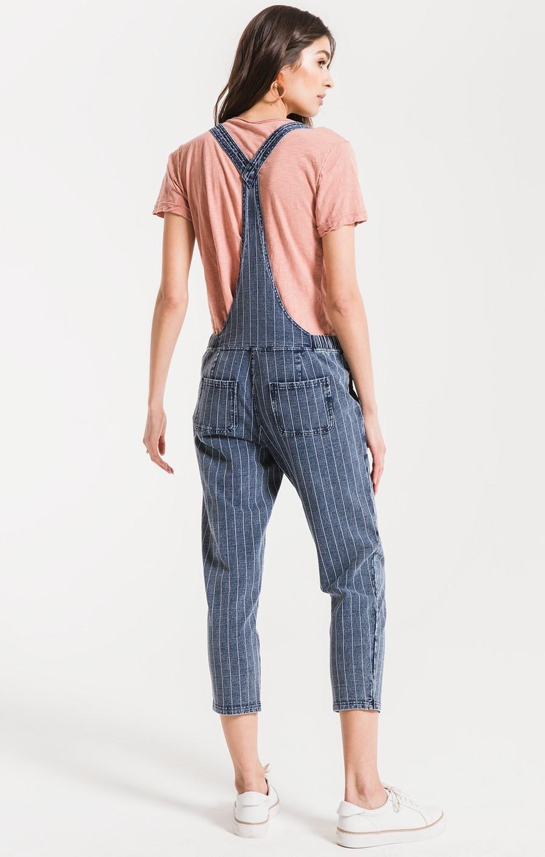 Z Supply The Stripe Knit Denim Overalls