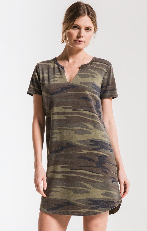 Z Supply The Camo Split Neck Dress