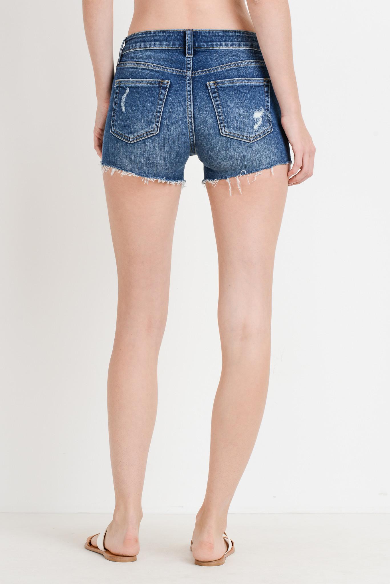 Just Black Denim Peek A Boo Pocket Shorts