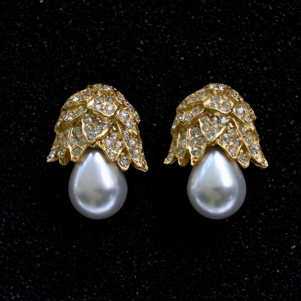 Jewelry KJLane: Pearl Drop with Gold Pave
