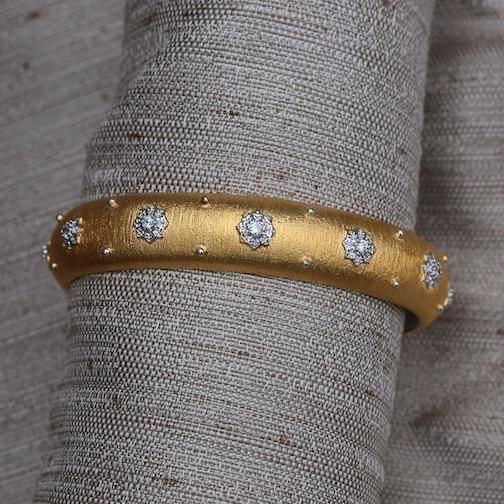 Jewelry Jardin: Satin Gold with Silver and Crystal Flower