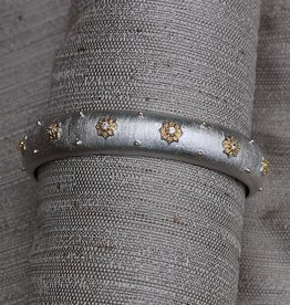 Jewelry Jardin: Satin Silver with Gold and Crystal Flower