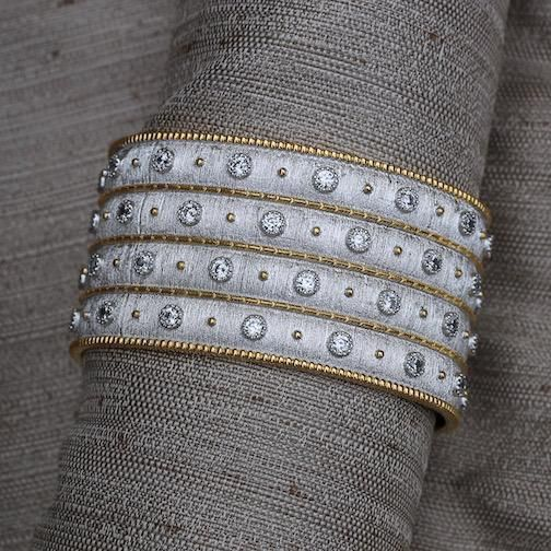 Jewelry Jardin: Satin Silver with Gold and Crystal Four Bands