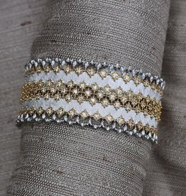 Jewelry Jardin: Satin Gold with Silver and Crystal Three Band Weave