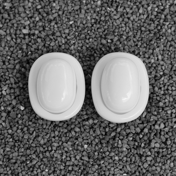 Jewelry Demaive: White Oval Buttons
