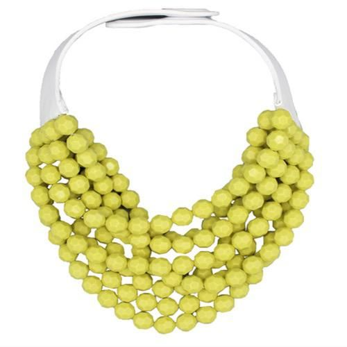 Jewelry VCExclusives: FB Chartreuse Strands w/White Leather Collar
