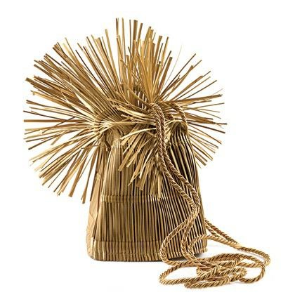 Accessories VCExclusives: It Is Gold Straw Bag