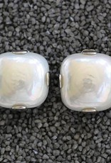 Jewelry FMontague: White Pearl Square w/Silver