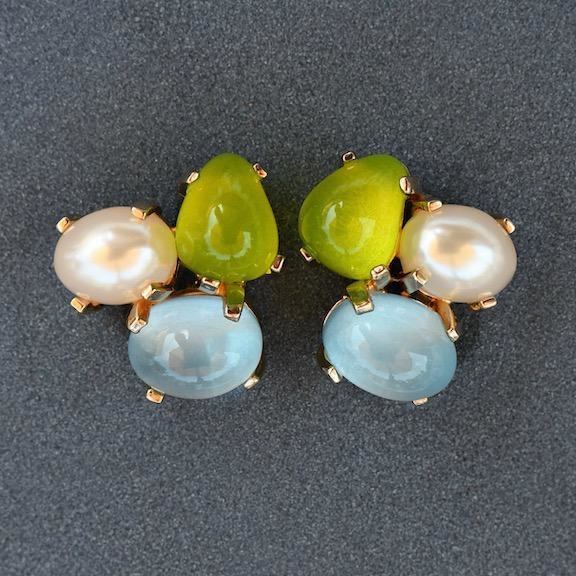 Jewelry VCExclusives: Tri Colored Drops Pearl Med Blue & Green