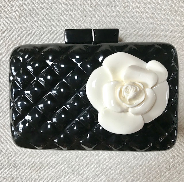 Accessories VCElusives: Black Quilted Clutch with Flower