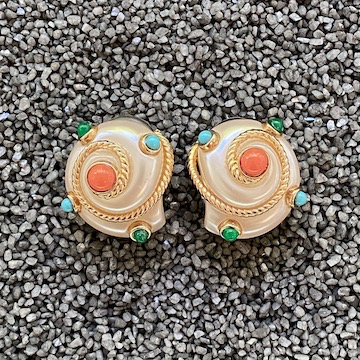 Jewelry VCExclusives: Pearl & Cable Shells w/Turquoise and Coral