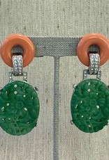 Jewelry KJLane: Carved Jade with Coral top LG