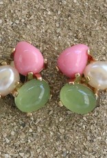 Jewelry VCExclusives: Tri Colored Drops Pink Green Pearl
