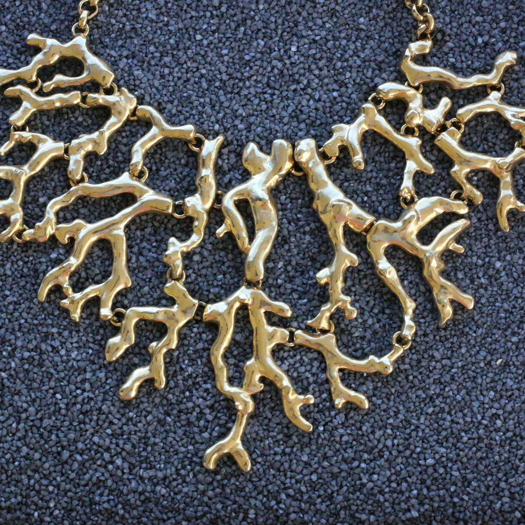 Jewelry KJLane: Branch Gold Coral Necklace