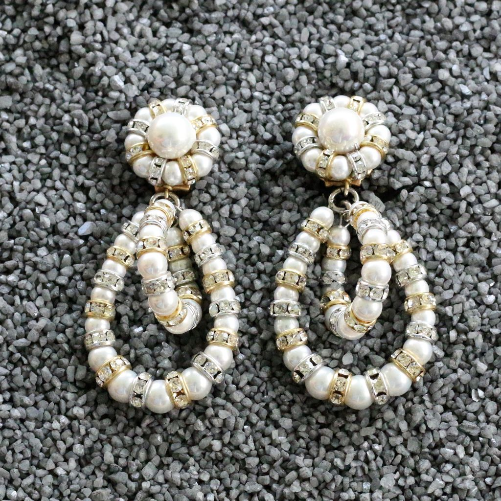 Jewelry FMontague: Lolita Pearl Loops w/Gold Details