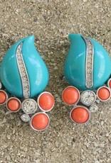 Jewelry KJLane: Teardrops Turquoise & Coral