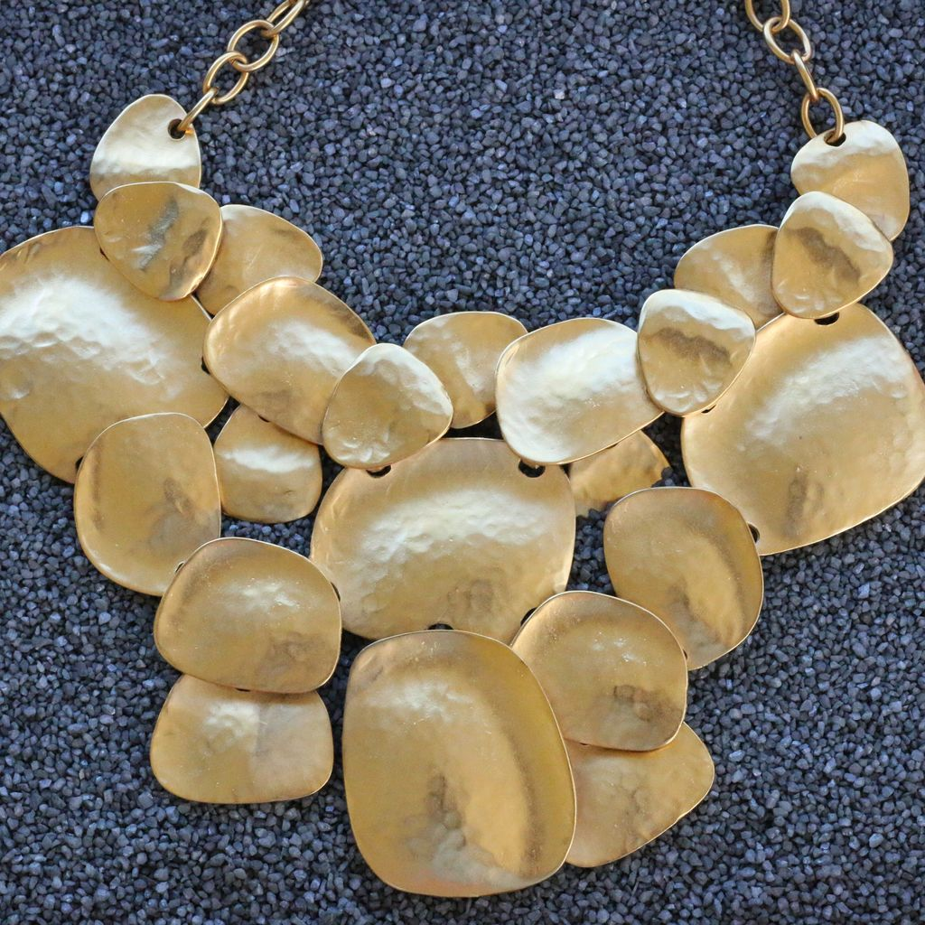 Jewelry KJLane: Hammered Gold Bib