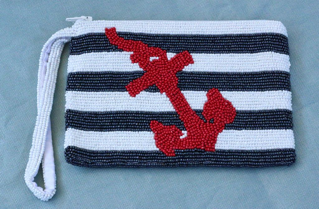 Handbags VCExlusives: Beaded Clutch / Navy Anchor