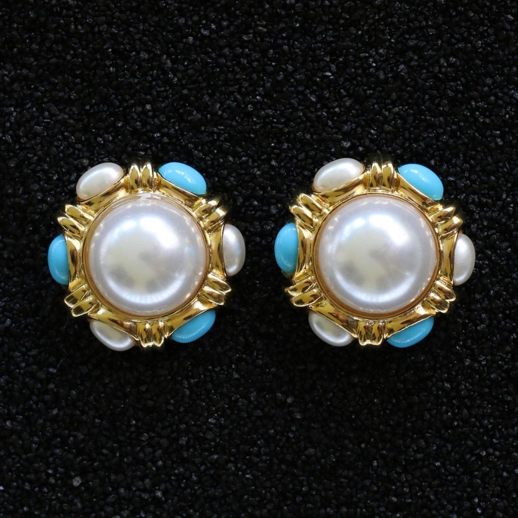 Jewelry KJLane: Button Large Pearl with Turk
